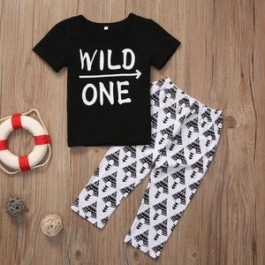 Other - Boys wild one outfit set bw boy outfits wild child